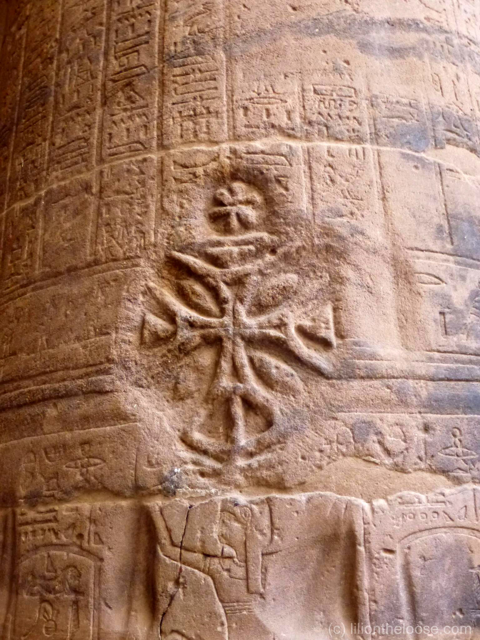 Coptic crosses at philae temple lili on the loose