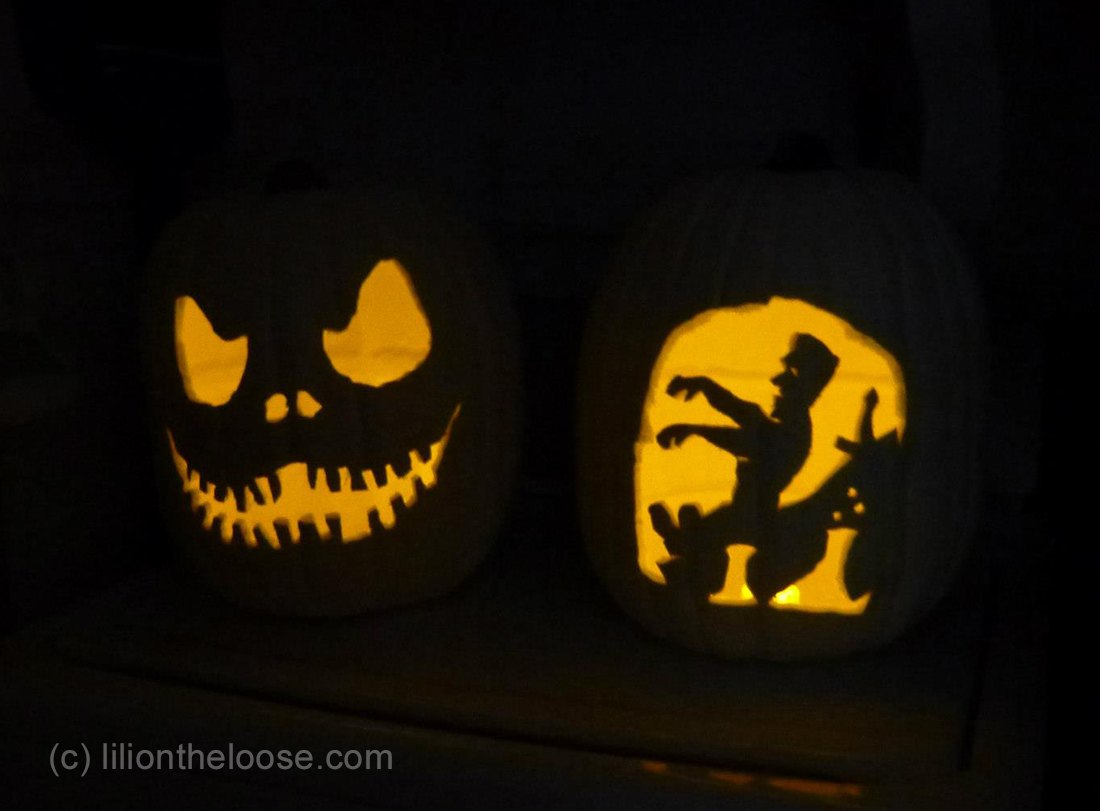 Here is it, beside another fake pumpkin, this time of Jack Skellington from the Nightmare before Christmas.